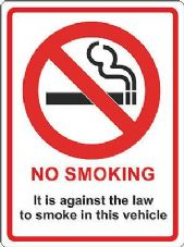 NO SMOKING In This Vehicle140mm x 105mm Taxi Company Car Lorry Van Cab HGV LGV